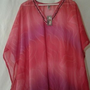 NWT Chivon Bathing Suit Cover Up In Pinks/Purples